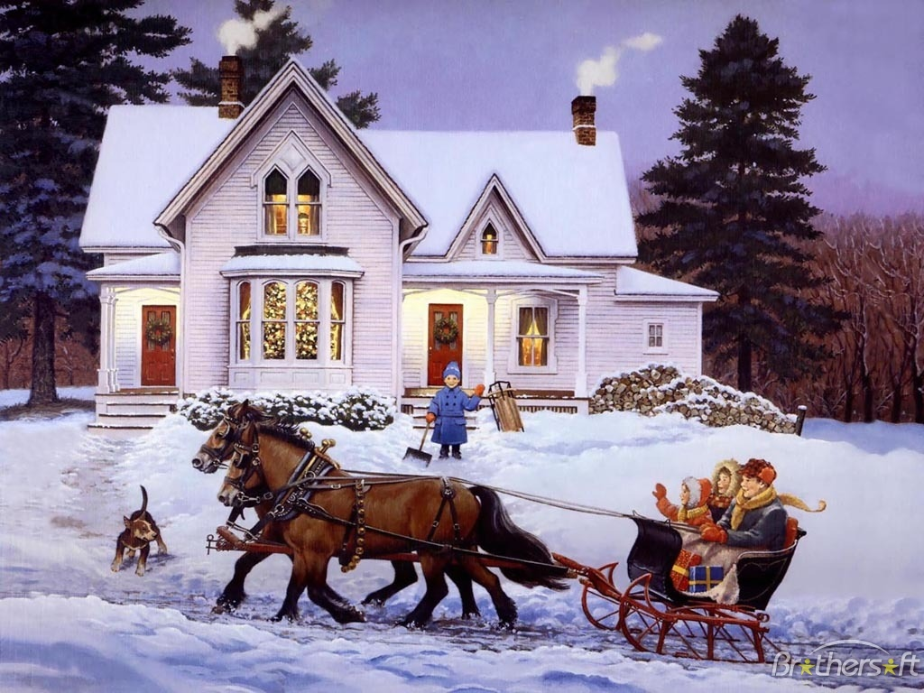 Group of Sleigh Ride Wallpaper